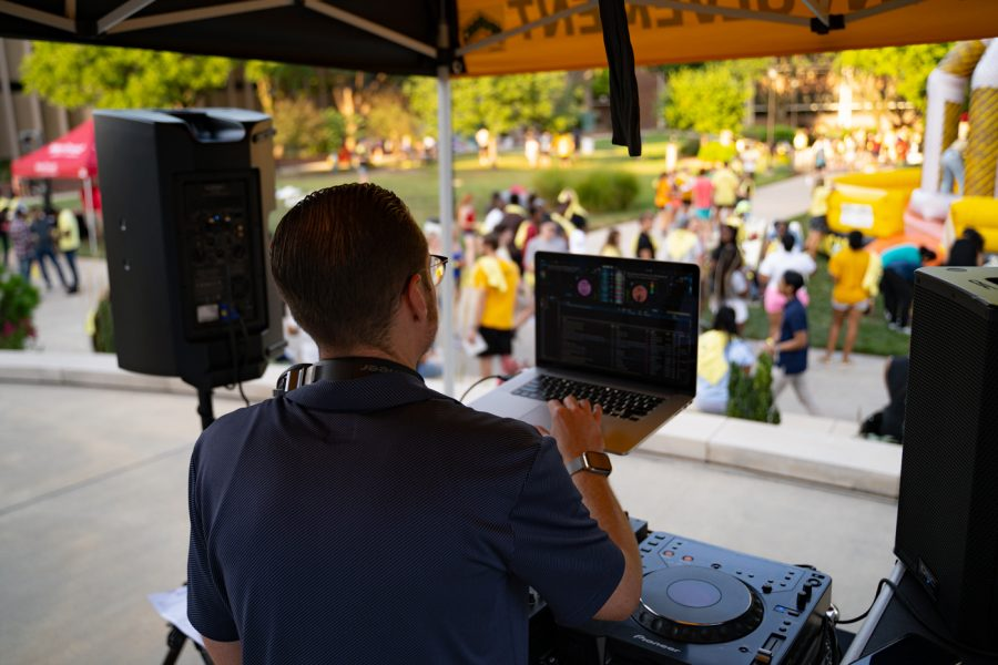 A DJ throws it down during the Back to School Bash. The event was hosted by Student Involvement on Aug 14 in the RSC Courtyard.