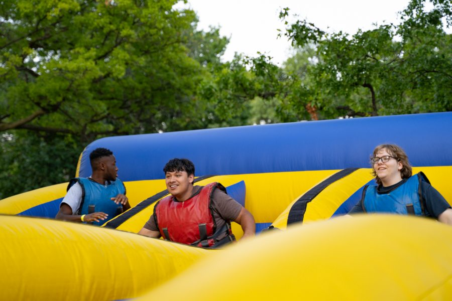 Students participates in one of many games at the Back to School Bash. The event was hosted by Student Involvement on Aug 14 in the RSC Courtyard.