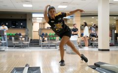 Wichita State senior Madison Janack bowls inside the Rhatigan Student Center on Monday, Aug. 17. Janack is coming off a successful junior season where she won the Most Valuable Player and helped lead the Shockers to a National Championship.