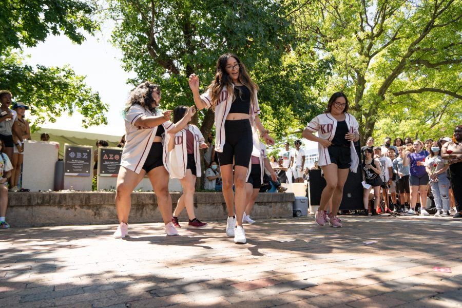 Members of Kappa Delta Chi sorority stroll during the Yard Show on Aug 24.