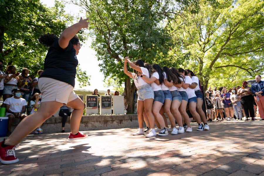 Members of Lambda Pi Upsilon sorority gets ready for their routine during the Yard Show on Aug 24.