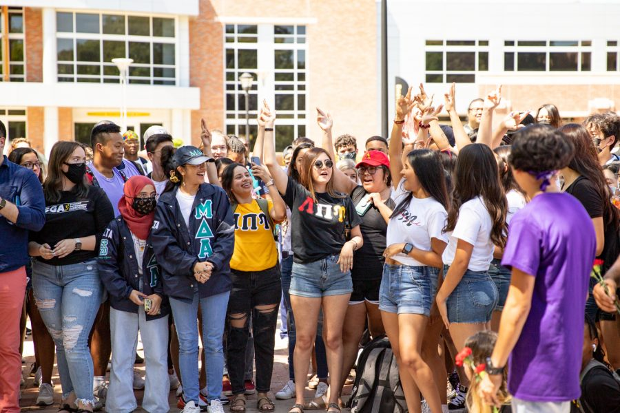 Multicultural Greek community gathers in the MGC Quad for yard show on Aug 24.