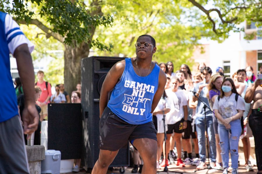 Brian Harris of Phi Beta Sigma fraternity durinng the yard show on Aug 24.