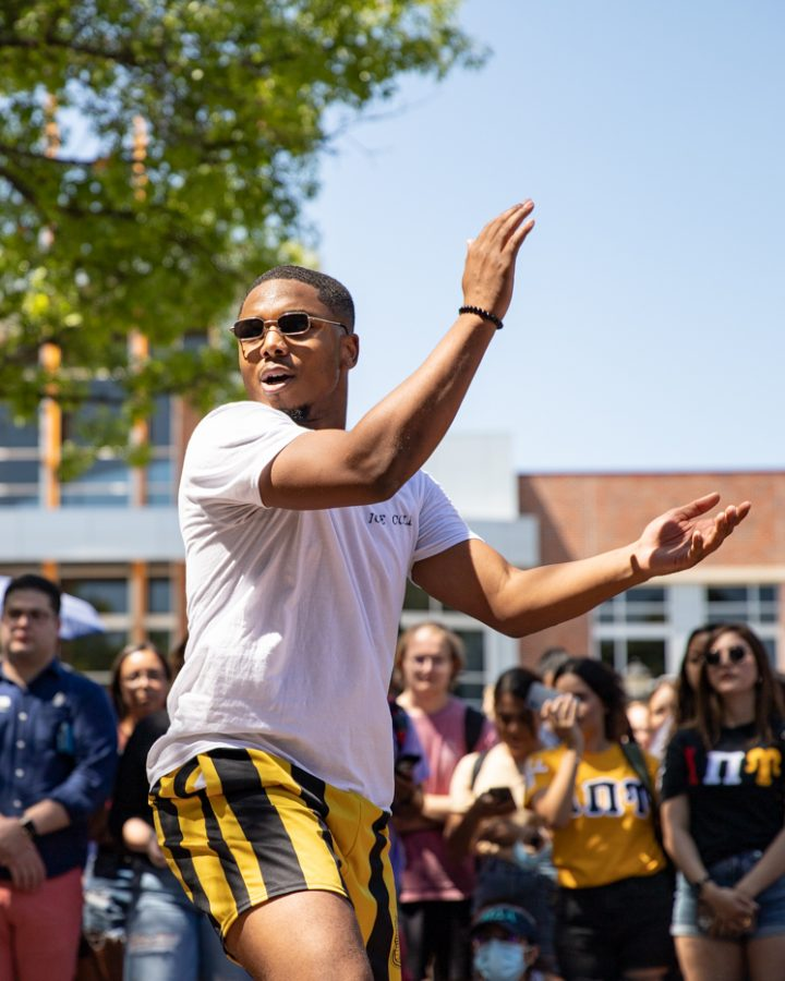Charles Williams of Alpha Phi Alpha fraternity strolls during yard show on Aug 24.