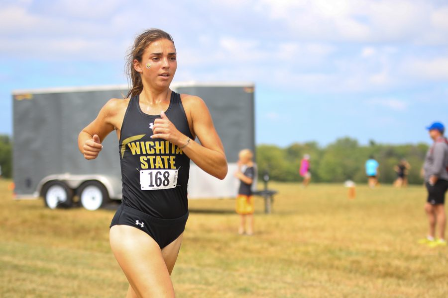 Wichita State redshirt sophomore Danielle Rinn races during the JK Gold Classic on Sept. 4 at the 4 Mile Creek Resort.