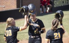 Neleigh Herring celebrates after hitting a home run during WSUs game against Pittsburgh State on Sept. 20 at Wilkins Stadium.