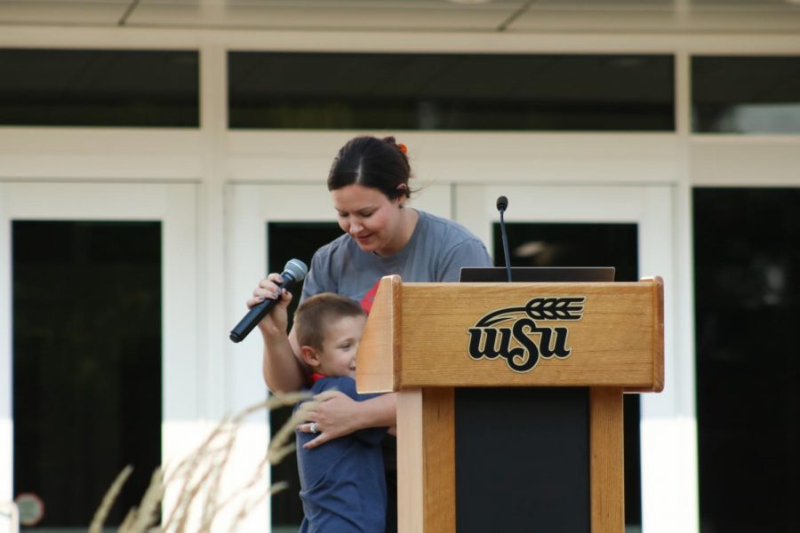 During the Suspenders4Hope event at the Wichita State Student Rhatigan Student the speakers son came up and hugged her when she talked about what mental health meant to her on Sept 11.