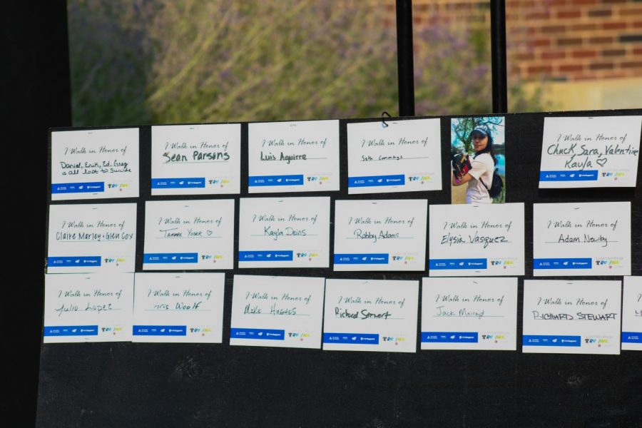 During the Suspenders4Hope event, participants were invited to write the name of the person they are walking in honor of their loved ones on Sept. 11