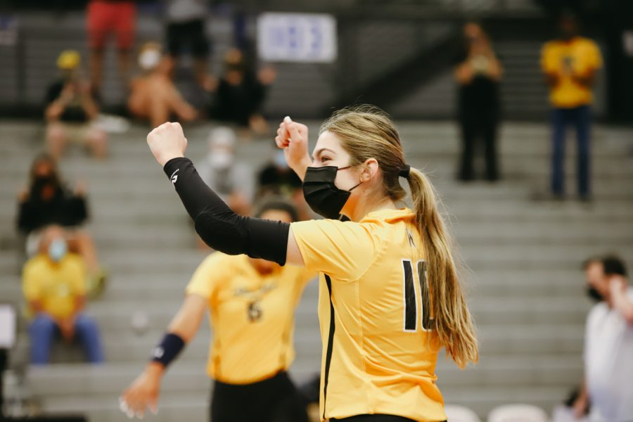 Freshman+Annalie+Heliste+celebrates+during+the+game+against+Delaware+on+Sep+11+at+Horejsi+Family+Volleyball+Center.