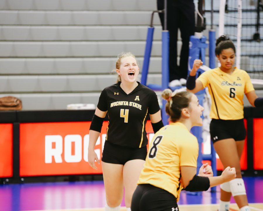 Junior Lily Liekweg celebrates during the game against Delaware on Sep 11 at Horejsi Family Volleyball Center.