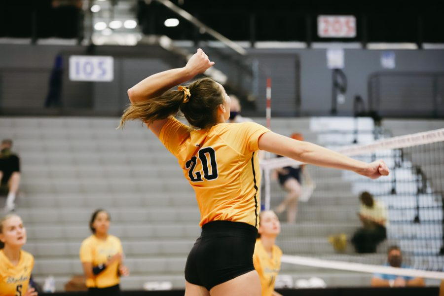 Junior Sophia Rohling goes up for a spike during the game against Delaware on Sep 11 at Horejsi Family Volleyball Center.