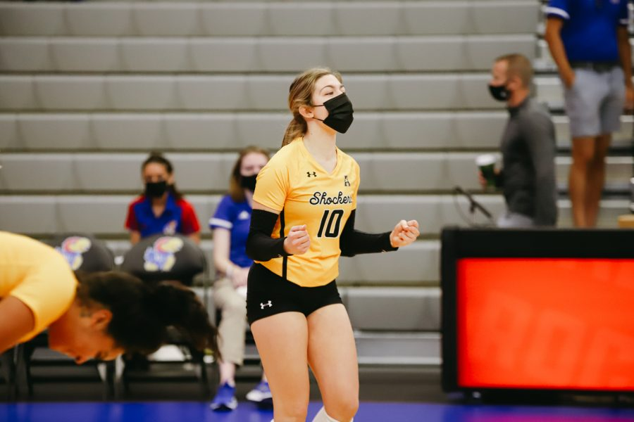 Freshman Annalie Heliste celebrates during the game against Delaware on Sep 11 at Horejsi Family Volleyball Center.