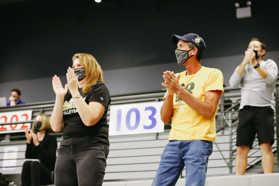 Wichita State fans cheers on the team during the game against Delaware on Sep 11 at Horejsi Family Volleyball Center.
