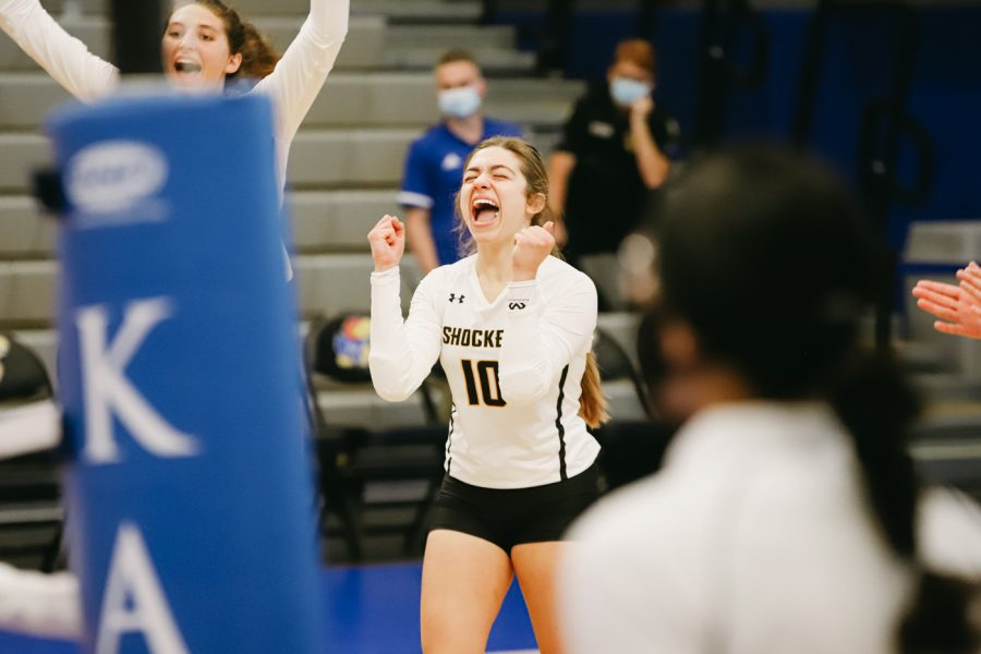 Freshman Annalie Heliste celebrates during the game against Kent State University on Sep 10 at Horejsi Family Volleyball Center.