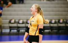 Junior Lily Liekweg celebrates during the game against Kent State University on Sep 10 at Horejsi Family Volleyball Center.