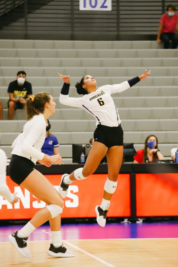 Freshmen Kailin Newsome goes up for a spike for the ball during the game against Kent State University on Sep 10 at Horejsi Family Volleyball Center.