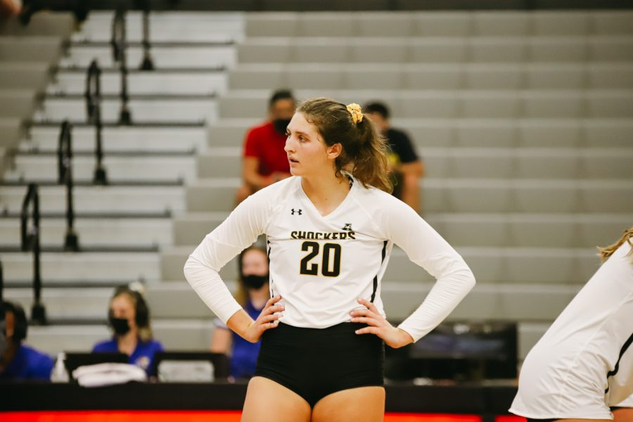 Junior Sophia Rohling looks for the serve during the game against Kent State University on Sep 10 at Horejsi Family Volleyball Center.