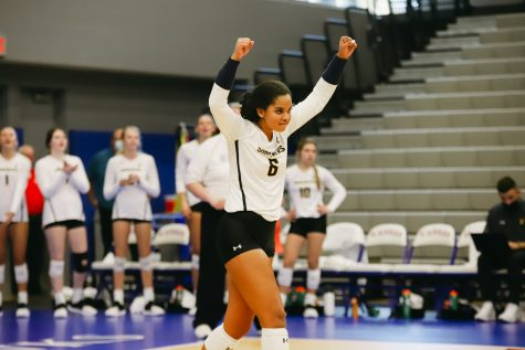 Freshmen Kailin Newsome celebrates during the game against Kent State University on Sep 10 at Horejsi Family Volleyball Center.