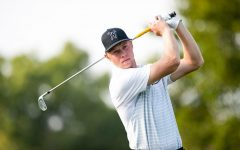 Wichita State junior Brock Pohill takes a swing during last year's Shocker Cup on Sept. 17, 2020.