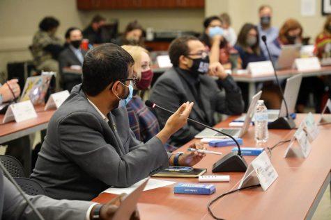 Senators discuss legislation during their meeting on Oct. 13, 2021.