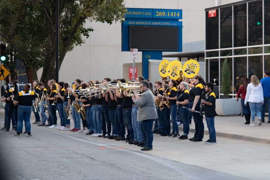 Wichita State Band performing at the Riverfest reverse parade on Oct. 1, 2021.