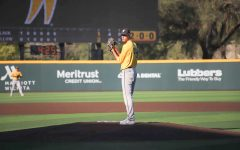 Junior L.J. McDonough prepares to throw a pitch during game two Fall World Series on Oct. 9 at Eck Stadium.