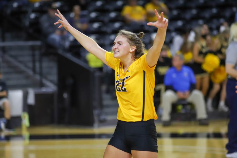 Wichita+State+freshman+Morgan+Weber+celebrates+after+a+point+during+WSUs+match+against+UCF+on+Oct.+1+inside+Charles+Koch+Arena.