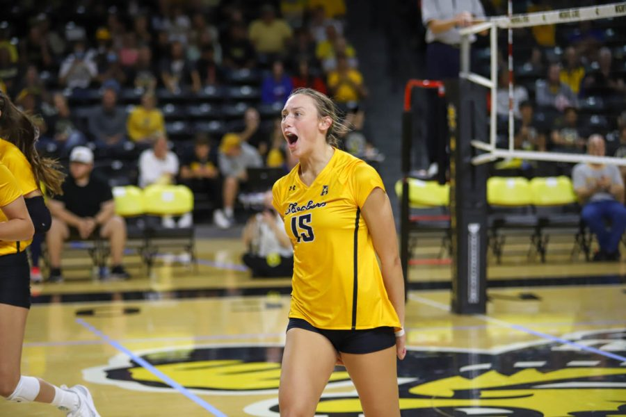 Wichita+State+freshman+Morgan+Stout+celebrates+after+a+point+during+their+match+against+UCF+on+Oct.+1+inside+Charles+Koch+Arena.
