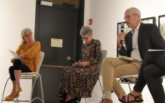 A. Mary Kay, Terry Evans, and Philip Hayes speak during the artist talk on Oct. 5 2021 at the Ulrich Museum.