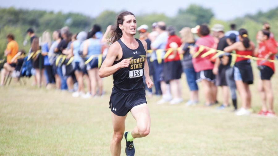 Wichita State redshirt sophomore Jed Helker races during the JK Gold Classic on Sept. 4 at the 4 Mile Creek Resort.