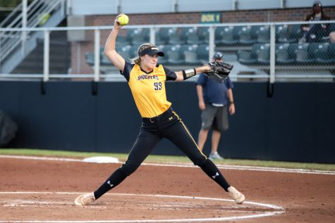 Senior Erin McDonald pitches during the game against Central Oklahoma at Wilkins Stadium on Oct. 8.