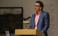 Sam Taylor, author of Book of Fools, speaks about the meaning behind his poems on Oct. 19 inside the Ulrich Museum.