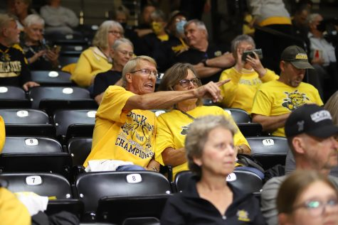 Shocker fans cheer on the WSU basketball teams on Oct. 12 at Charles Koch Arena.